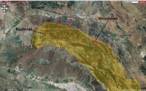تصویر ماهواره ای خراشاد و موقعیت آن نسبت به بیرجند و رشته کوه باقران
